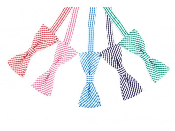 Světle zelený bavlněný motýlek s mřížkováním