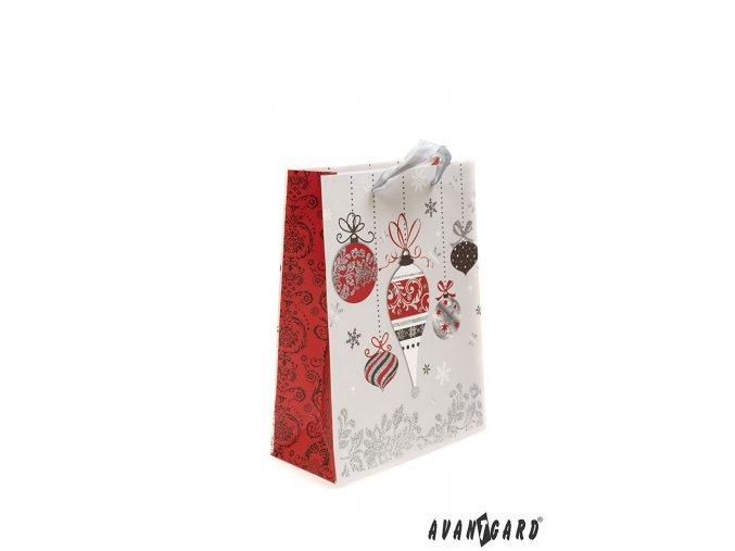 Stříbrná dárková taška s vánočním motivem