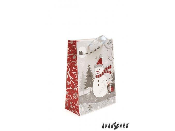 Stříbrná dárková taška se sněhulákem