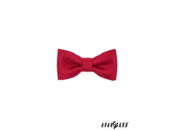 Červený chlapecký mini motýlek se vzorem stejné barvy