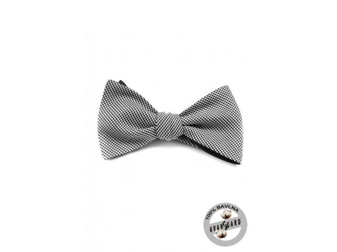 Vázací motýlek bavlněný 603-5008 Černá (Barva Černá, Velikost uvázaný cca 12 cm, Materiál 100% bavlna)