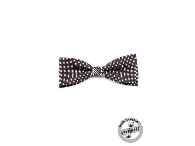 Černobílý bavlněný pánský motýlek s puntíky a bílým detailem