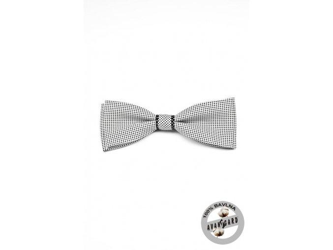 Motýlek PREMIUM bavlněný  600-5064 Bílo-černá (Barva Bílo-černá, Velikost 12,5 cm, Materiál 100% bavlna)