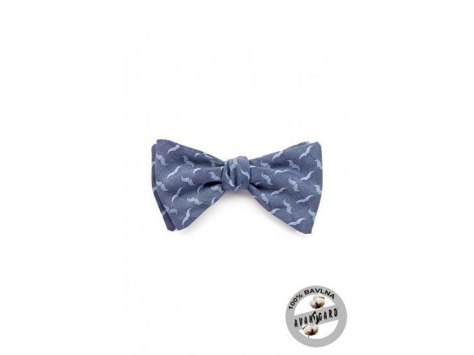 Světle modrý vázací bavlněný motýlek se vzorem