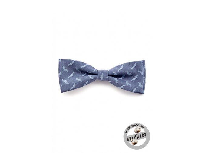 Motýlek PREMIUM bavlněný  600-5075 Modrá (Barva Modrá, Velikost 12,5 cm, Materiál 100% bavlna)