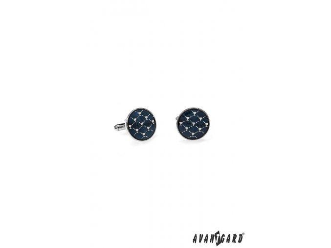Kulaté modré manžetové knoflíčky se stříbrným vzorem