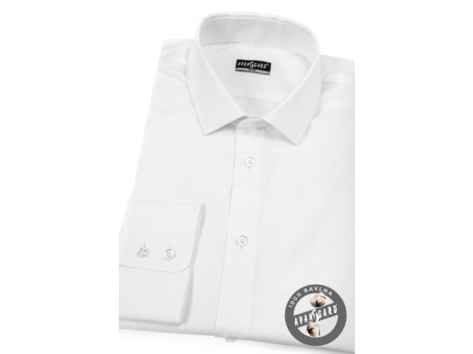 Bílá pánská SLIM FIT košile, dl. rukáv, 109-1_