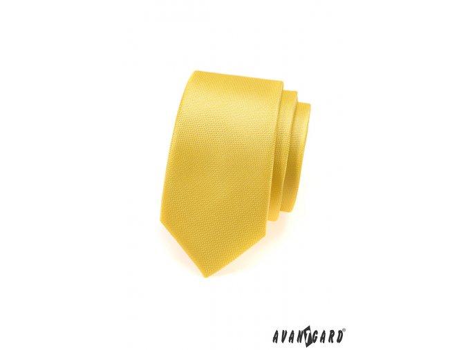 Žlutá velmi jemně vzorkovaná slim kravata