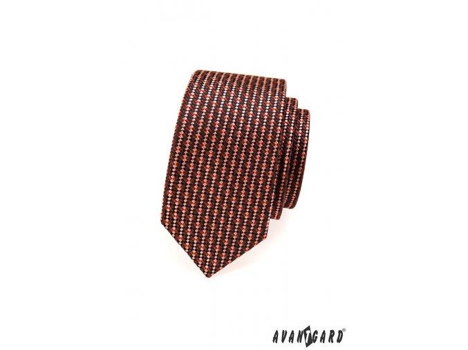 Hnědá slim kravata s velmi drobným vzorem