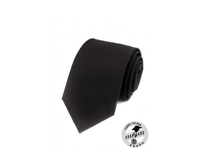 Kravata PREMIUM vlněná 608-23 Černá (Barva Černá, Velikost 7 cm, Materiál 100% vlna)