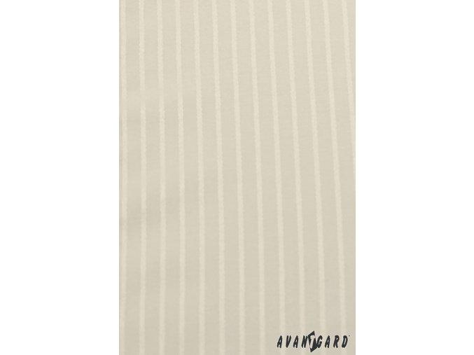 Pánská smetanová košile s jemnými pruhy SLIM FIT, krytá léga, na manžetové knoflíčky 514-1103