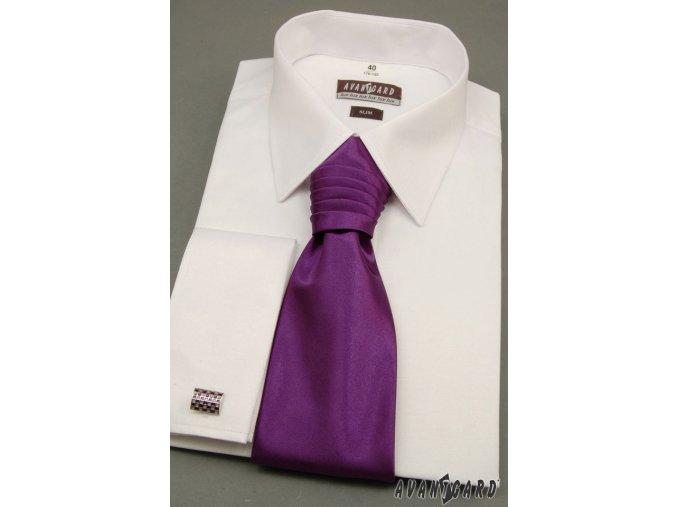 Pánská bílá košile SLIM FIT, krytá léga, na manžetové knoflíčky 160-1