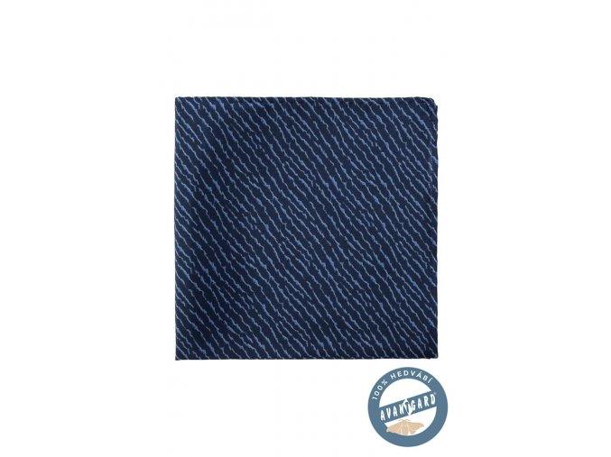 Velmi tmavě modrý hedvábný kapesníček se světlým vzorem