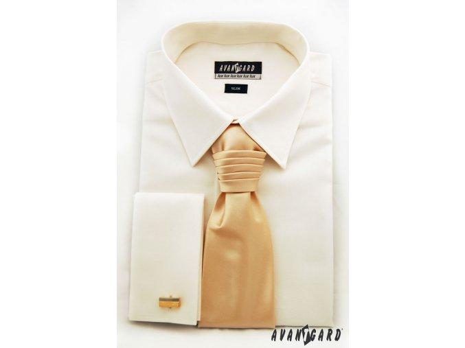 Pánská smetanová košile SLIM FIT, krytá léga, na manžetové knoflíčky 160-2