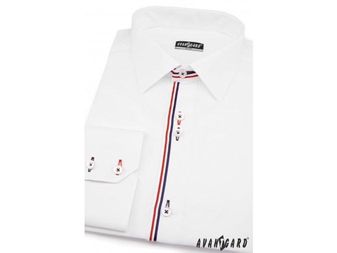 Bílá pánská SLIM FIT košile, dl. rukáv, 125-0131_