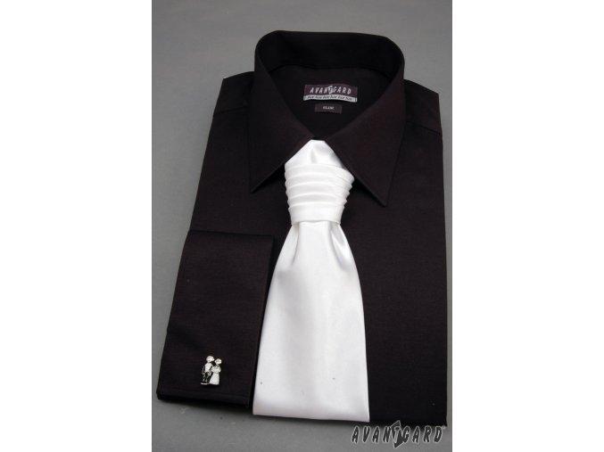 Černá pánská SLIM FIT košile na manžetové knoflíčky, s krytou légou, 160-23_