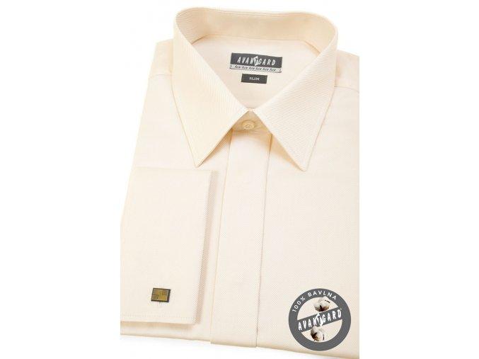 Pánská smetanová košile SLIM FIT, krytá léga, na manžetové knoflíčky