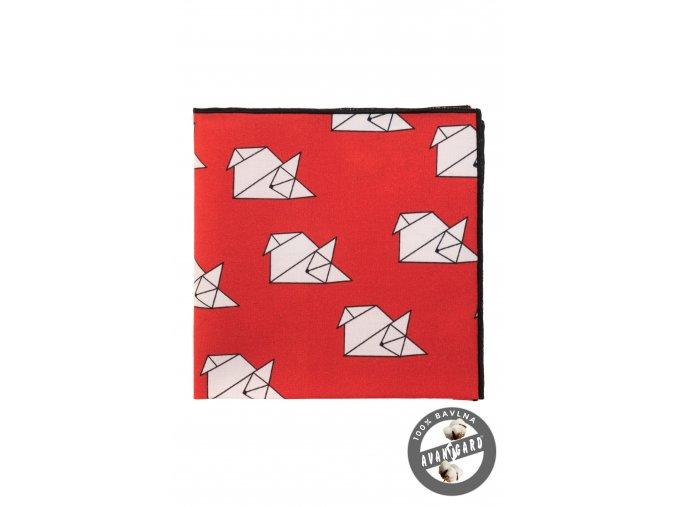 Červený kapesníček se vzorem origami