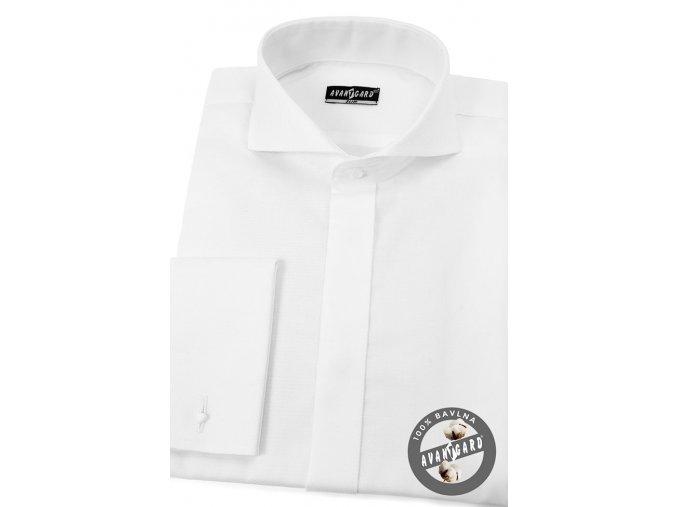 Pánská košile SLIM - krytá léga, MK 110-97 Bílá (Barva Bílá, Velikost 45/46/194, Materiál 100% bavlna)