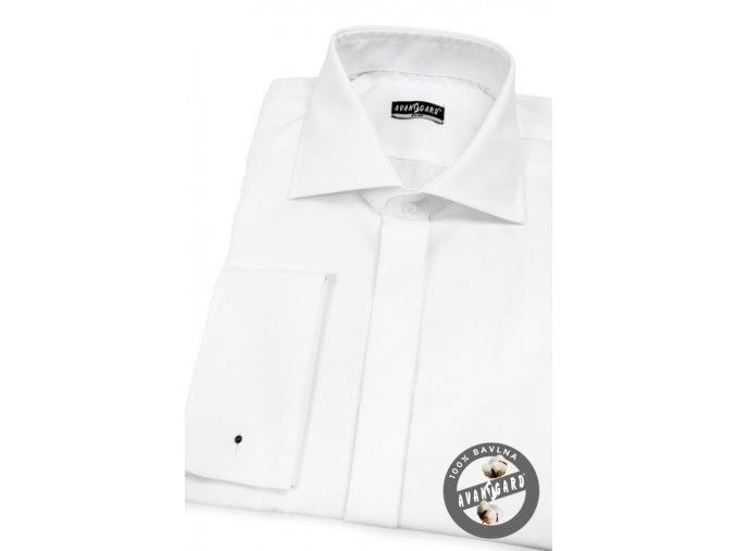 Pánská bílá košile SLIM FIT krytá léga, na manžetové knoflíčky 110-01