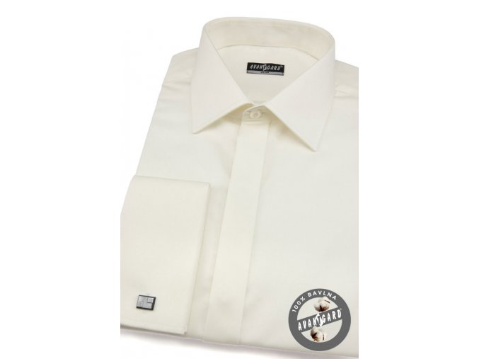 Pánská smetanová hladká košile SLIM FIT, krytá léga, na manžetové knoflíčky 170-222
