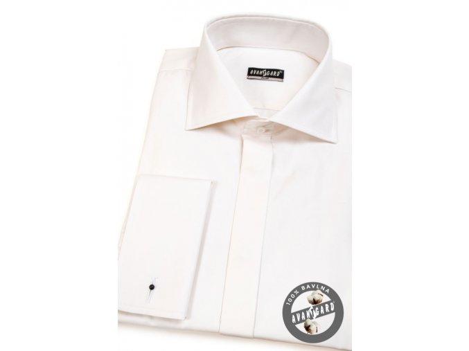 Pánská smetanová košile SLIM FIT krytá léga, na manžetové knoflíčky 111-206