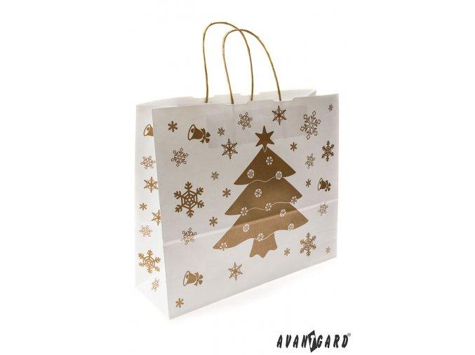 Bílá vánoční papírová taška se zlatým stromečkem (360-x-120-x-310-mm)