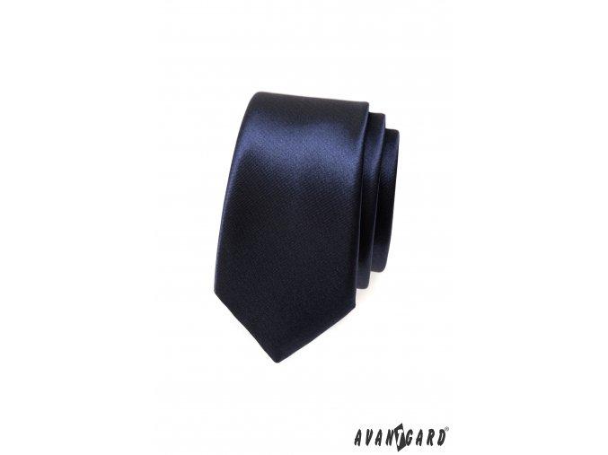 Velmi tmavě modrá lesklá slim kravata