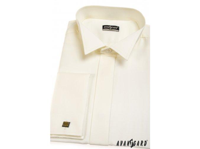 Pánská smetanová košile - FRAKOVKA SLIM FIT, na manžetové knoflíčky 154-2
