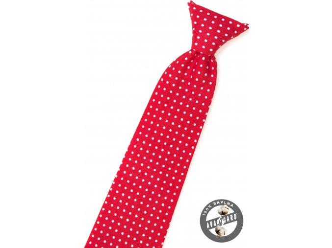 Červená dětská kravata s bílým puntíkem