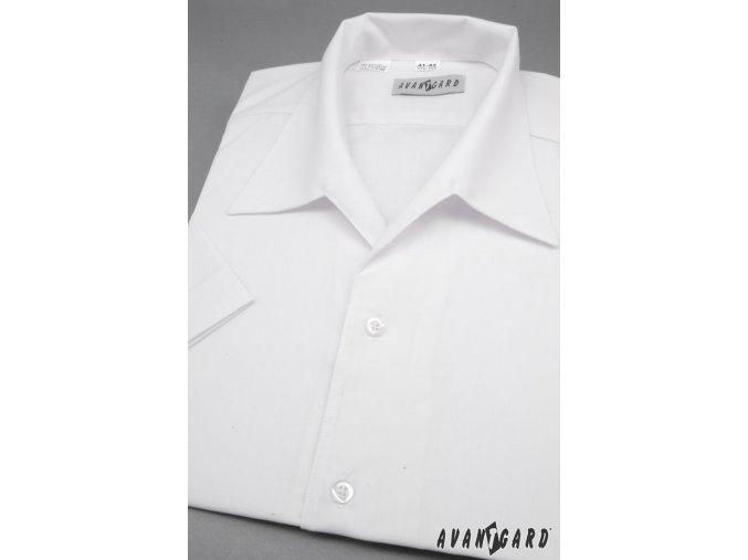 Pánská košile s rozhalenkou, kr.rukáv 456-1 V1-bílá (Barva V1-bílá, Velikost 40/182, Materiál 55% bavlna a 45% polyester)