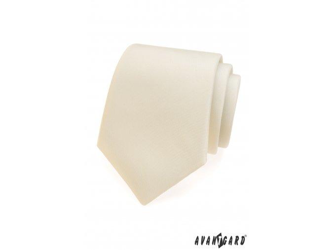 Smetanová matná jednobarevná kravata