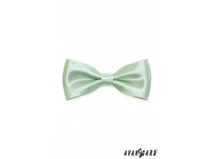 Velmi světle zelený lesklý motýlek + kapesníček do saka