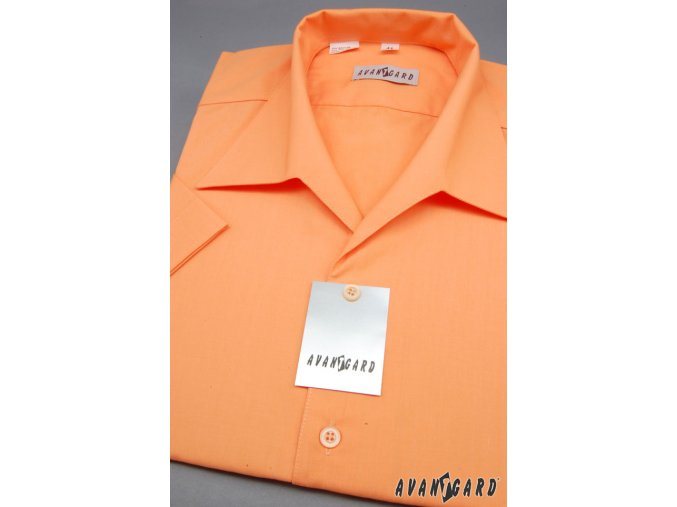 Pánská košile s rozhalenkou, kr.rukáv 456-10 V10-pomerančová (Barva V10-pomerančová, Velikost 43/182, Materiál 55% bavlna a 45% polyester)
