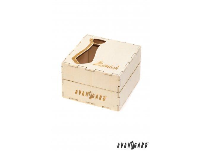 Dřevěná dárková krabička se vzorem kravaty - Ženich