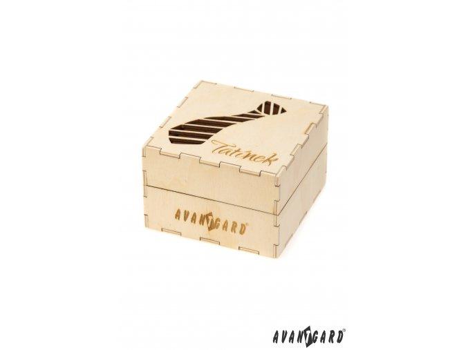 Dřevěná dárková krabička se vzorem kravaty - Tatínek