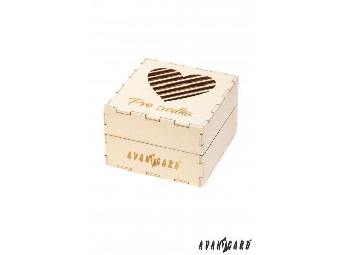 Dřevěná dárková krabička se srdíčkem - Pro svědka