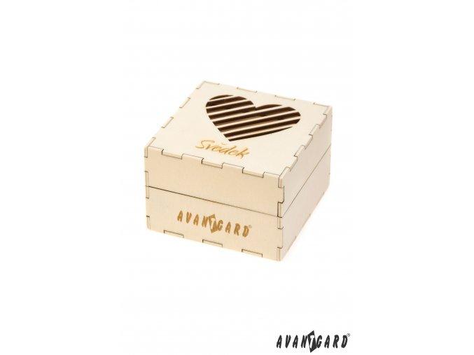 Dřevěná dárková krabička se srdíčkem - Svědek
