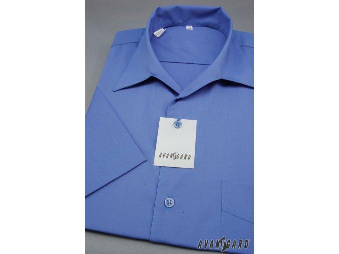 Pánská košile s rozhalenkou, kr.rukáv 456-18 V18-král.modř (Barva V18-král.modř, Velikost 38/182, Materiál 55% bavlna a 45% polyester)