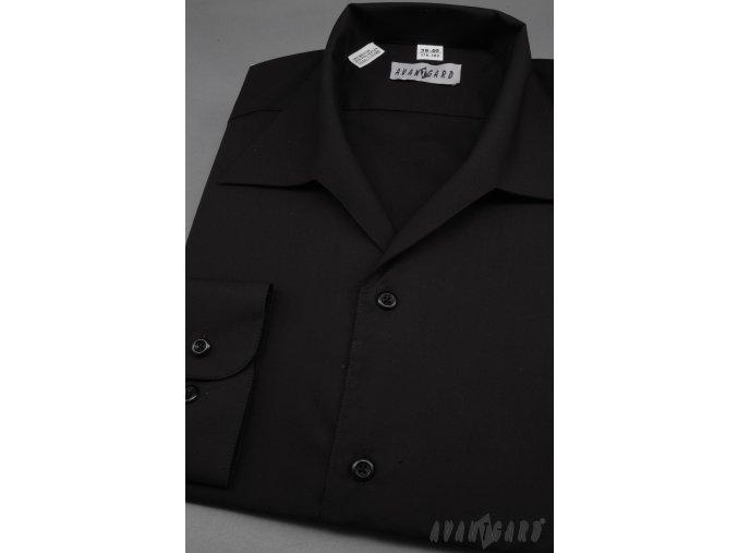Pánská černá košile rozhalenka 457-23