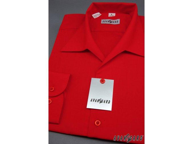 Pánská červená košile rozhalenka 457-12