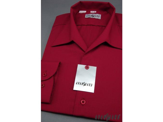 Pánská bordó košile rozhalenka 457-13