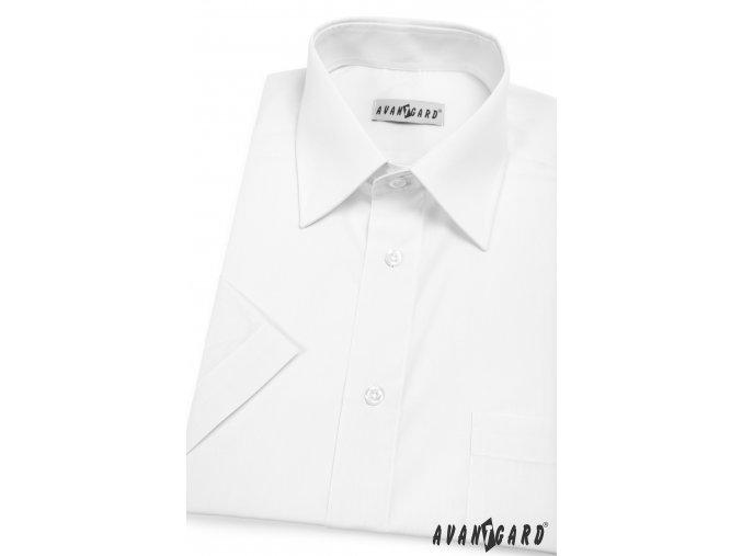 Pánská bílá klasická košile, kr. rukáv, 351-1