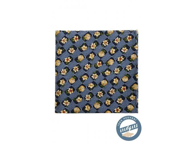 Modrý kapesníček s šachovnicí a květy