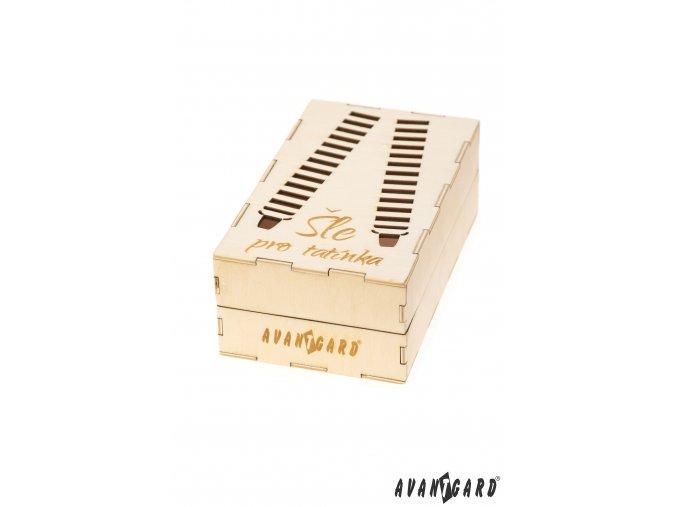 Dřevěná zdobená dárková krabička na šle - Pro tatínka