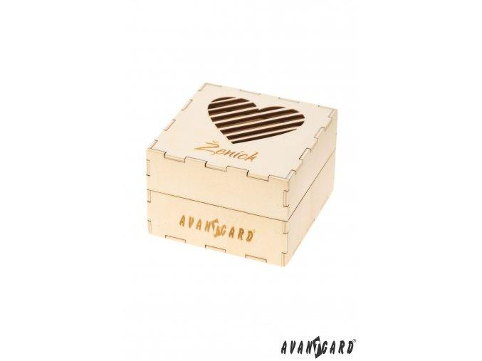 Dřevěná dárková krabička se srdíčkem - Ženich