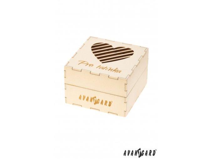 Dřevěná dárková krabička se vzorem srdce - Pro tatínka
