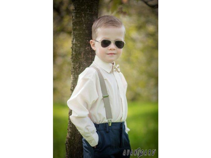 Chlapecká košile KLASIK s krytou légou 458-2 V2-smetanová (Barva V2-smetanová, Velikost 98, Materiál 55% bavlna a 45% polyester)