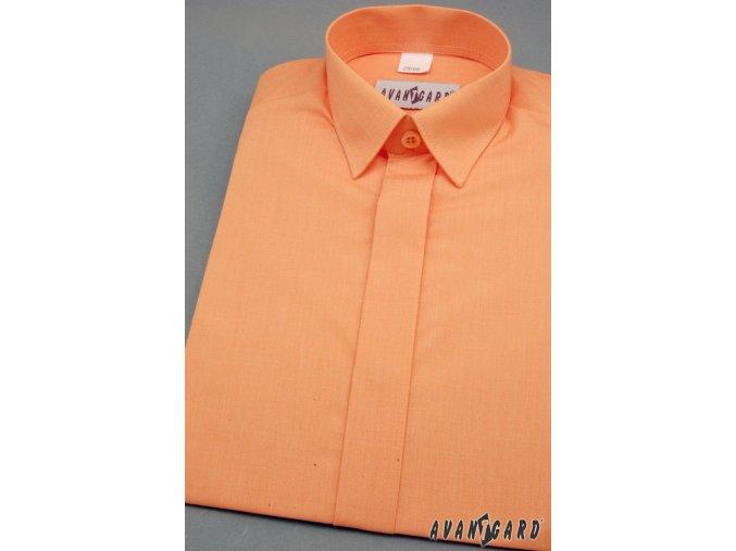 Chlapecká košile KLASIK s krytou légou 458-10 V10-pomerančová (Barva V10-pomerančová, Velikost 92, Materiál 55% bavlna a 45% polyester)