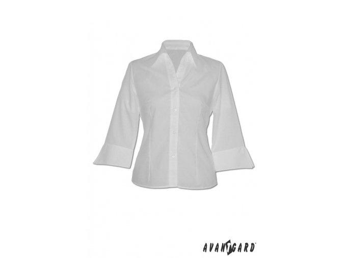 Dámská halena SOFT 3/4 rukáv 753-1 V1 - bílá (Barva V1 - bílá, Velikost 42, Materiál 55% bavlna a 45% polyester)